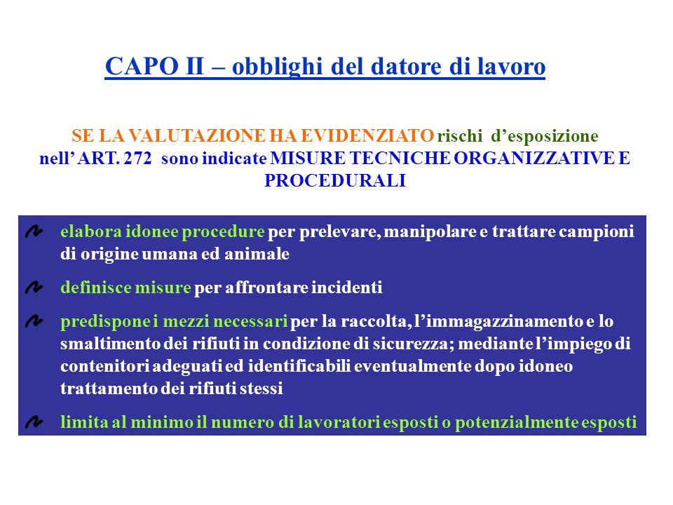 SE LA VALUTAZIONE HA EVIDENZIATO rischi desposizione nell ART. 272 sono indicate MISURE TECNICHE ORGANIZZATIVE E PROCEDURALI elabora idonee procedure