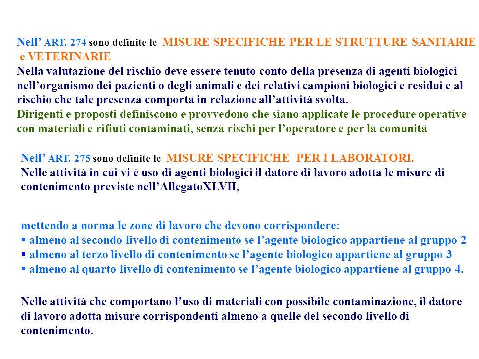 Nell ART. 274 sono definite le MISURE SPECIFICHE PER LE STRUTTURE SANITARIE e VETERINARIE Nella valutazione del rischio deve essere tenuto conto della