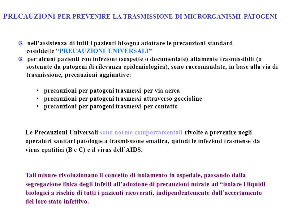 PRECAUZIONI PER PREVENIRE LA TRASMISSIONE DI MICRORGANISMI PATOGENI nellassistenza di tutti i pazienti bisogna adottare le precauzioni standard cosidd