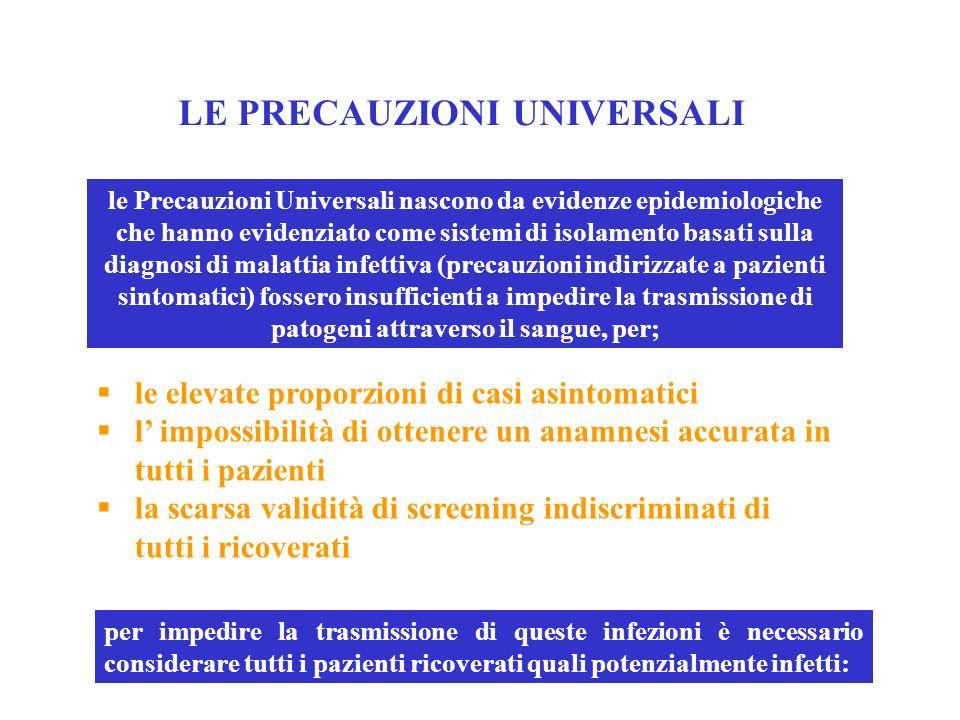 LE PRECAUZIONI UNIVERSALI le elevate proporzioni di casi asintomatici l impossibilità di ottenere un anamnesi accurata in tutti i pazienti la scarsa v