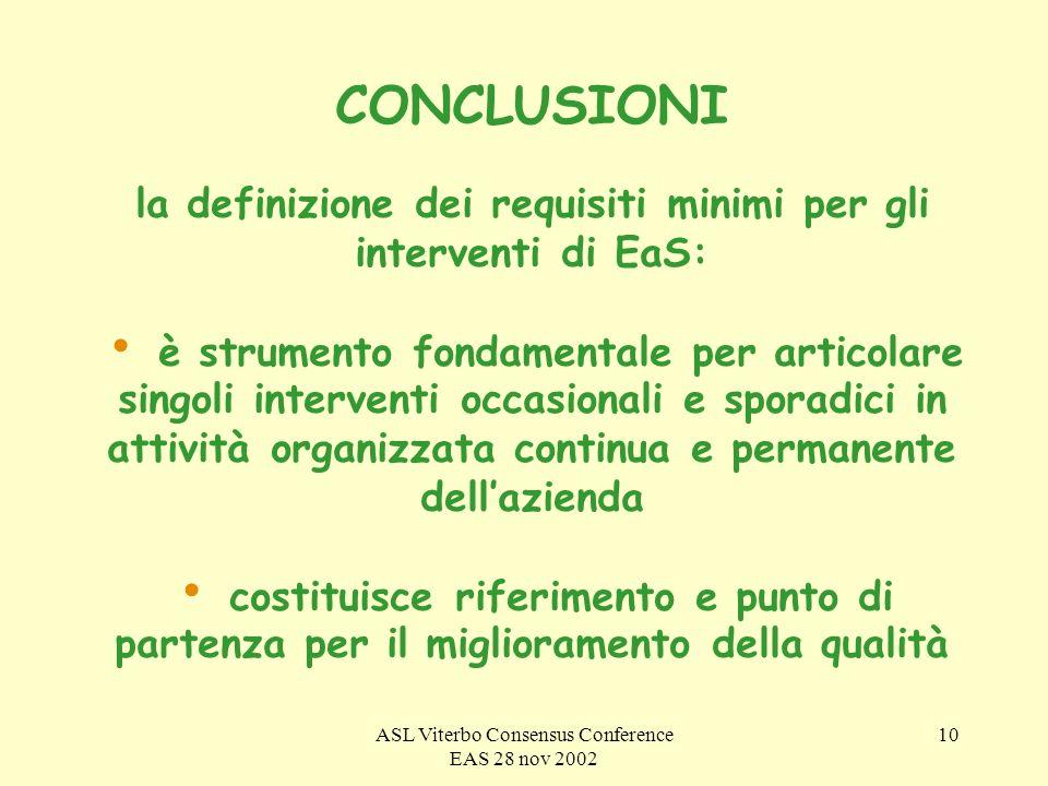 ASL Viterbo Consensus Conference EAS 28 nov 2002 10 CONCLUSIONI la definizione dei requisiti minimi per gli interventi di EaS: è strumento fondamentale per articolare singoli interventi occasionali e sporadici in attività organizzata continua e permanente dellazienda costituisce riferimento e punto di partenza per il miglioramento della qualità