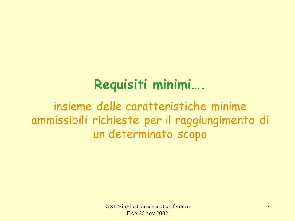 ASL Viterbo Consensus Conference EAS 28 nov 2002 4 A QUALE SCOPO.