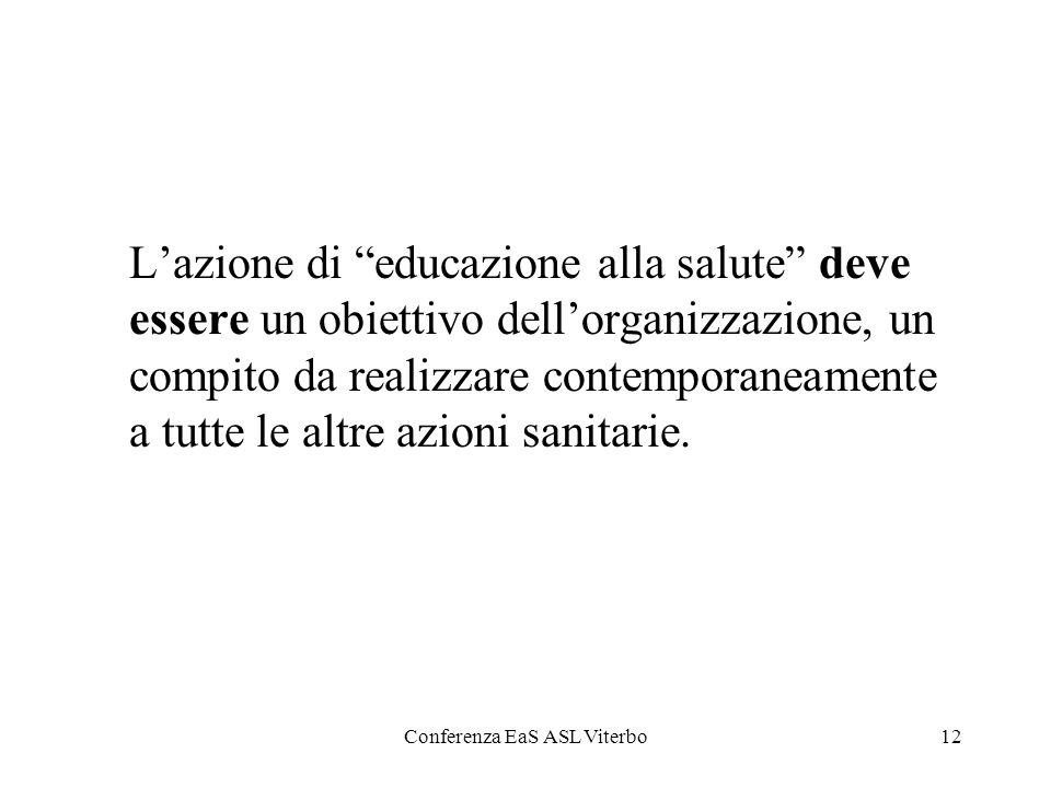 Conferenza EaS ASL Viterbo12 Lazione di educazione alla salute deve essere un obiettivo dellorganizzazione, un compito da realizzare contemporaneament