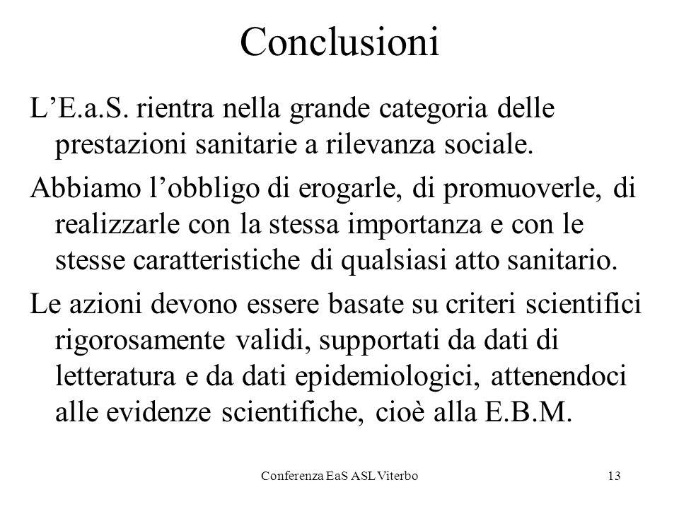 Conferenza EaS ASL Viterbo13 Conclusioni LE.a.S. rientra nella grande categoria delle prestazioni sanitarie a rilevanza sociale. Abbiamo lobbligo di e