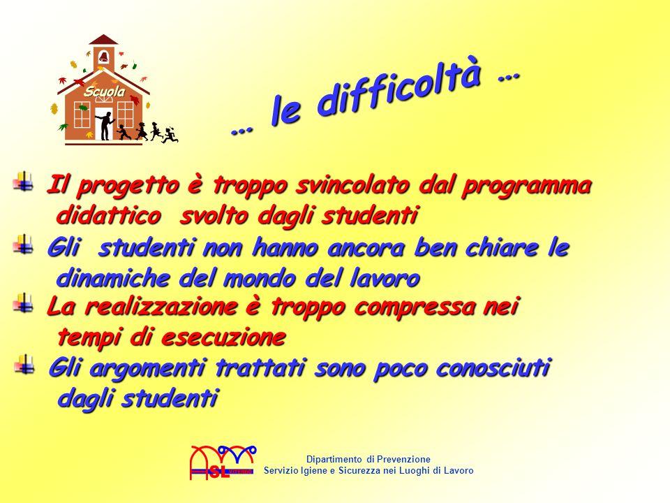Il progetto è troppo svincolato dal programma didattico svolto dagli studenti Il progetto è troppo svincolato dal programma didattico svolto dagli stu
