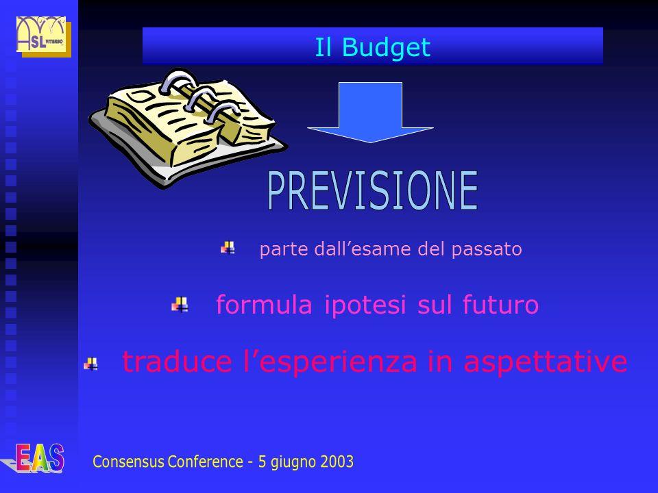 parte dallesame del passato formula ipotesi sul futuro traduce lesperienza in aspettative Il Budget