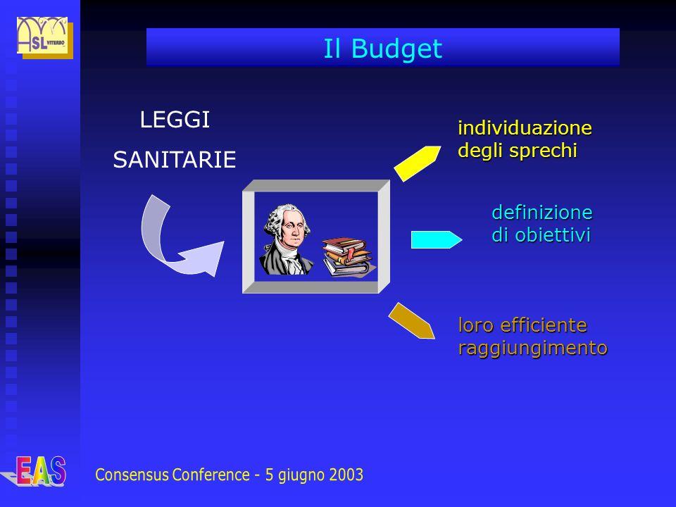 LEGGI SANITARIE individuazione degli sprechi definizione di obiettivi loro efficiente raggiungimento Il Budget