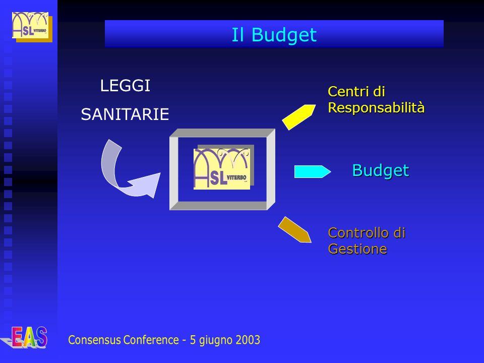 LEGGI SANITARIE Centri di Responsabilità Budget Controllo di Gestione Il Budget