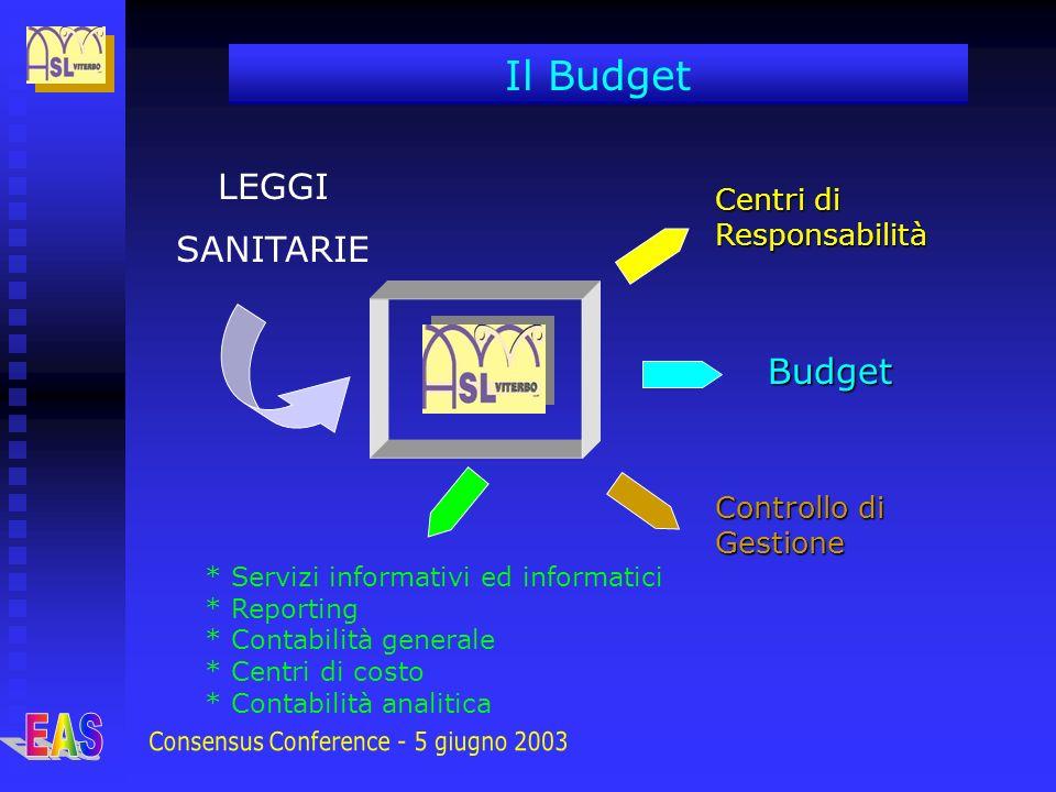 LEGGI SANITARIE Centri di Responsabilità Budget Controllo di Gestione Il Budget * Servizi informativi ed informatici * Reporting * Contabilità general