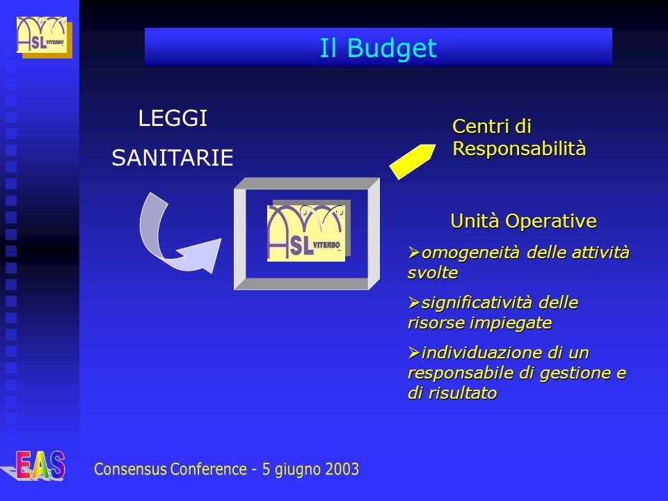 LEGGI SANITARIE Centri di Responsabilità Il Budget Unità Operative omogeneità delle attività svolte omogeneità delle attività svolte significatività d