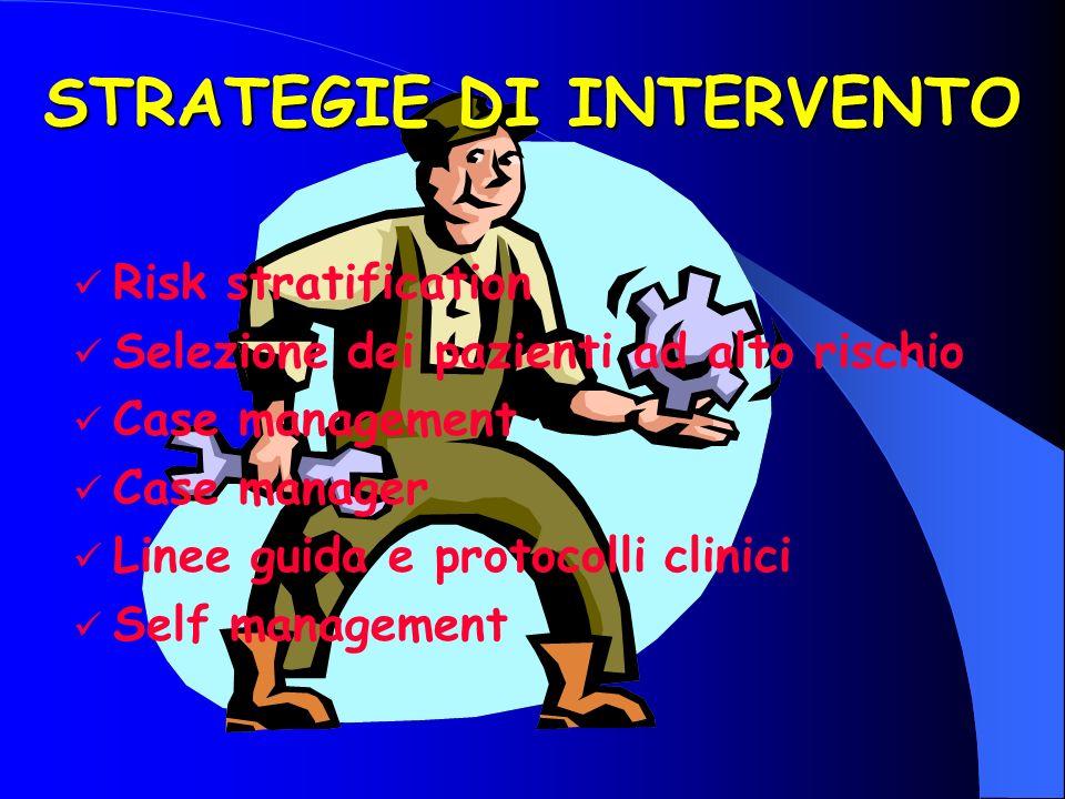 STRATEGIE DI INTERVENTO Risk stratification Selezione dei pazienti ad alto rischio Case management Case manager Linee guida e protocolli clinici Self