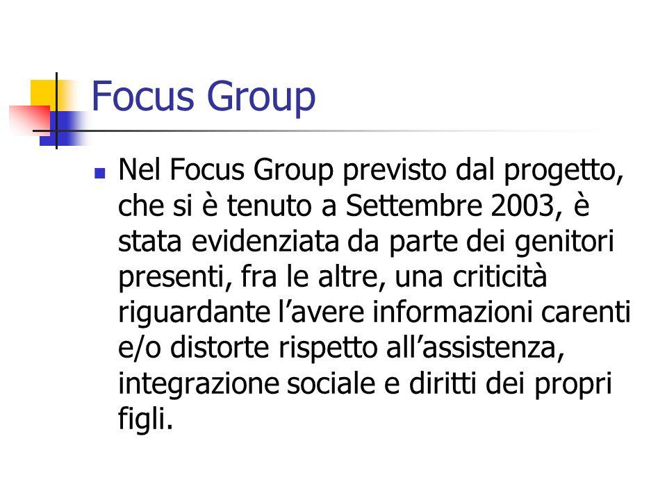 Focus Group Nel Focus Group previsto dal progetto, che si è tenuto a Settembre 2003, è stata evidenziata da parte dei genitori presenti, fra le altre,