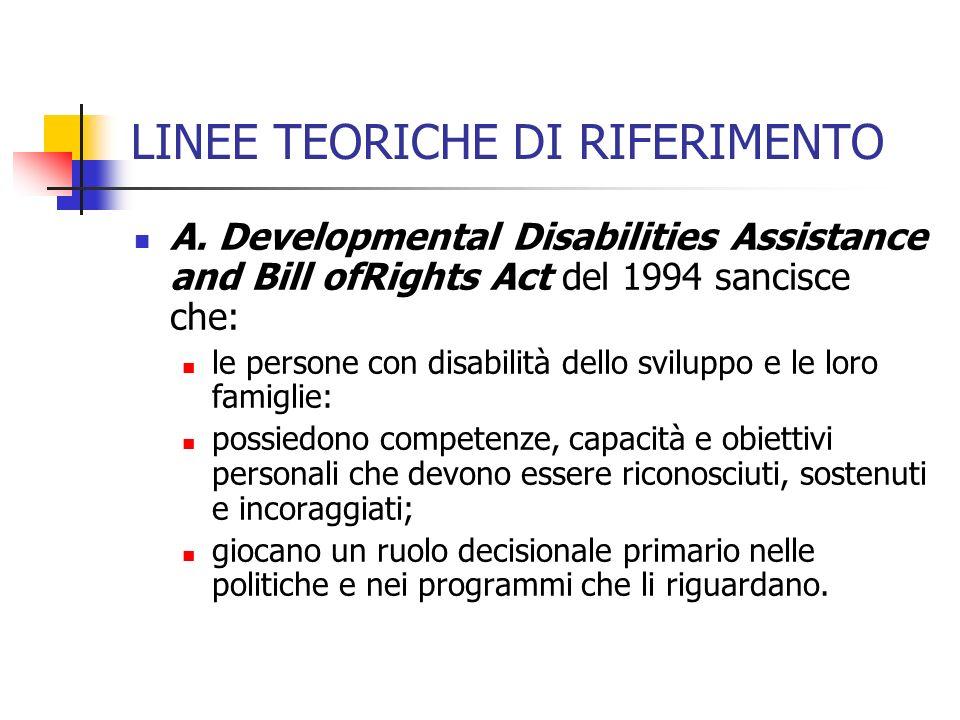 LINEE TEORICHE DI RIFERIMENTO A. Developmental Disabilities Assistance and Bill ofRights Act del 1994 sancisce che: le persone con disabilità dello sv