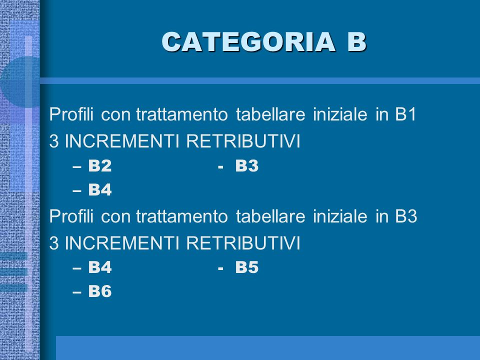 CATEGORIA A 3 INCREMENTI RETRIBUTIVI –A2 –A3 –A4