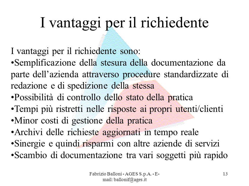 Fabrizio Balloni - AGES S.p.A. - E- mail: ballonif@ages.it 13 I vantaggi per il richiedente I vantaggi per il richiedente sono: Semplificazione della