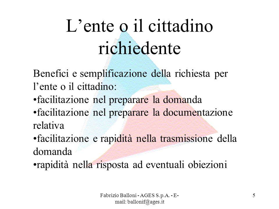 Fabrizio Balloni - AGES S.p.A. - E- mail: ballonif@ages.it 5 Lente o il cittadino richiedente Benefici e semplificazione della richiesta per lente o i