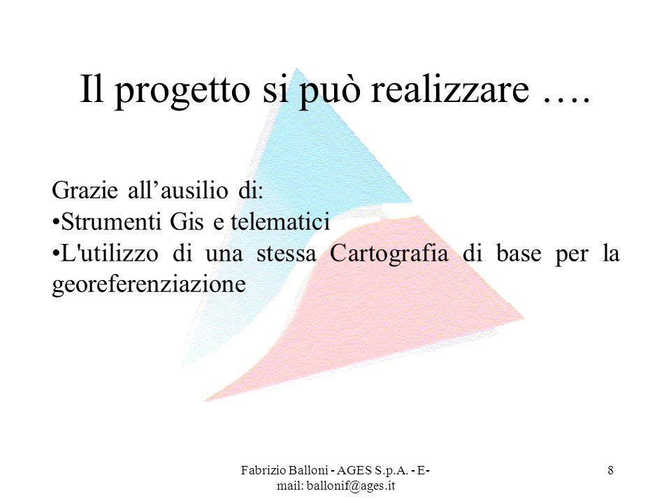 Fabrizio Balloni - AGES S.p.A. - E- mail: ballonif@ages.it 8 Il progetto si può realizzare …. Grazie allausilio di: Strumenti Gis e telematici L'utili