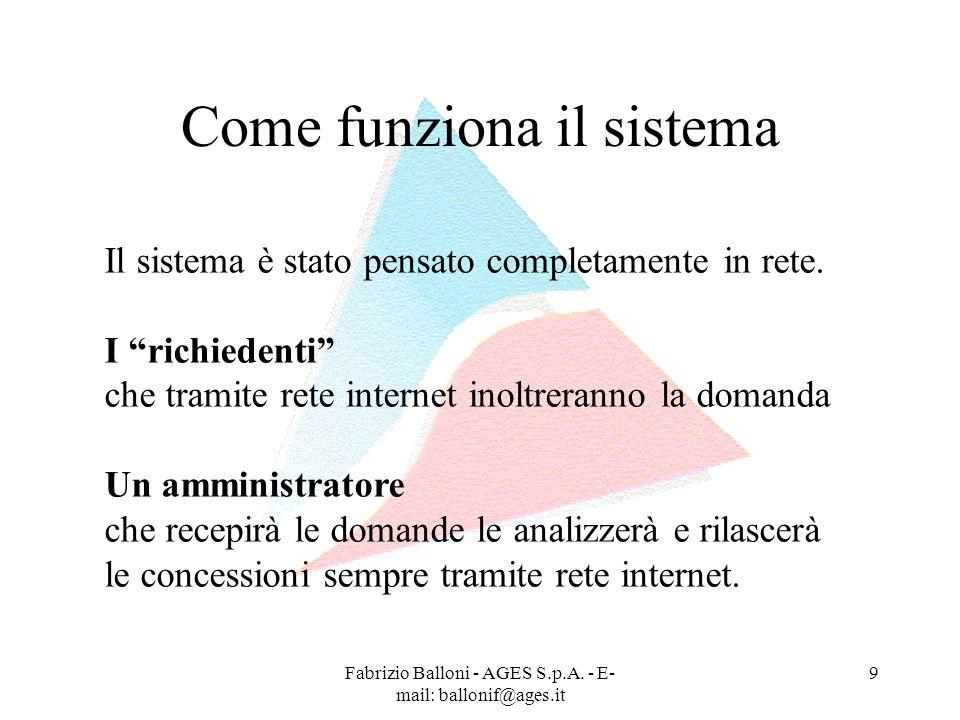 Fabrizio Balloni - AGES S.p.A. - E- mail: ballonif@ages.it 9 Come funziona il sistema Il sistema è stato pensato completamente in rete. I richiedenti