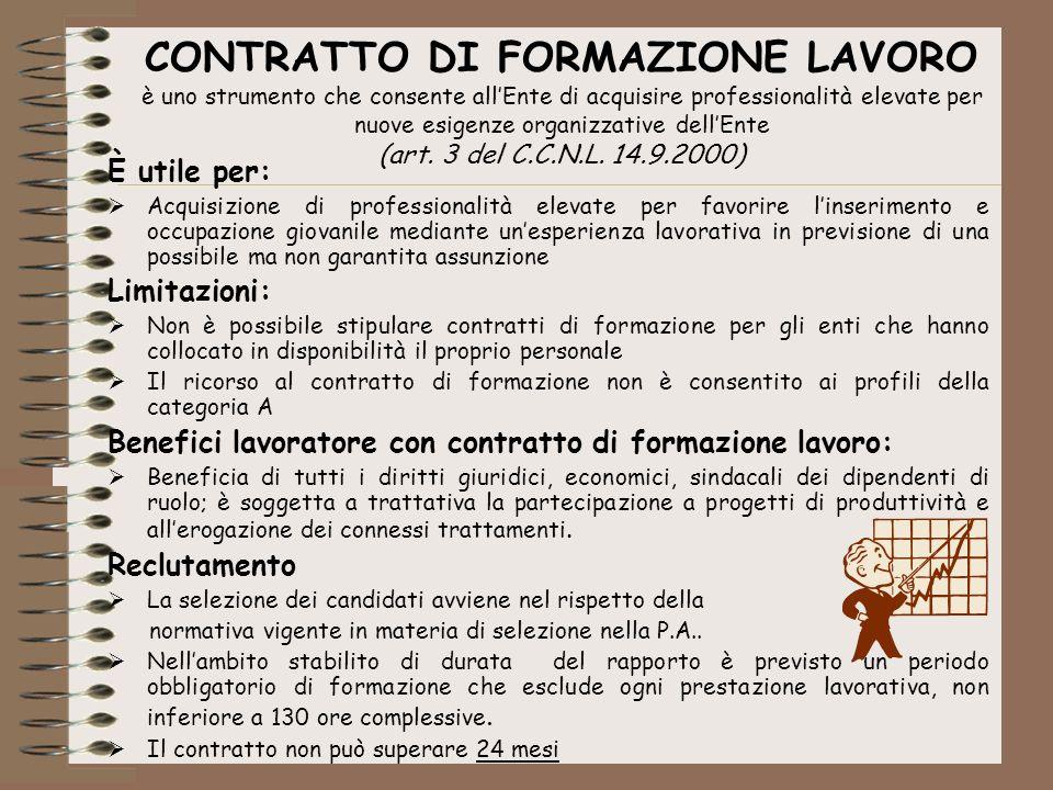 CONTRATTO DI FORMAZIONE LAVORO è uno strumento che consente allEnte di acquisire professionalità elevate per nuove esigenze organizzative dellEnte (art.
