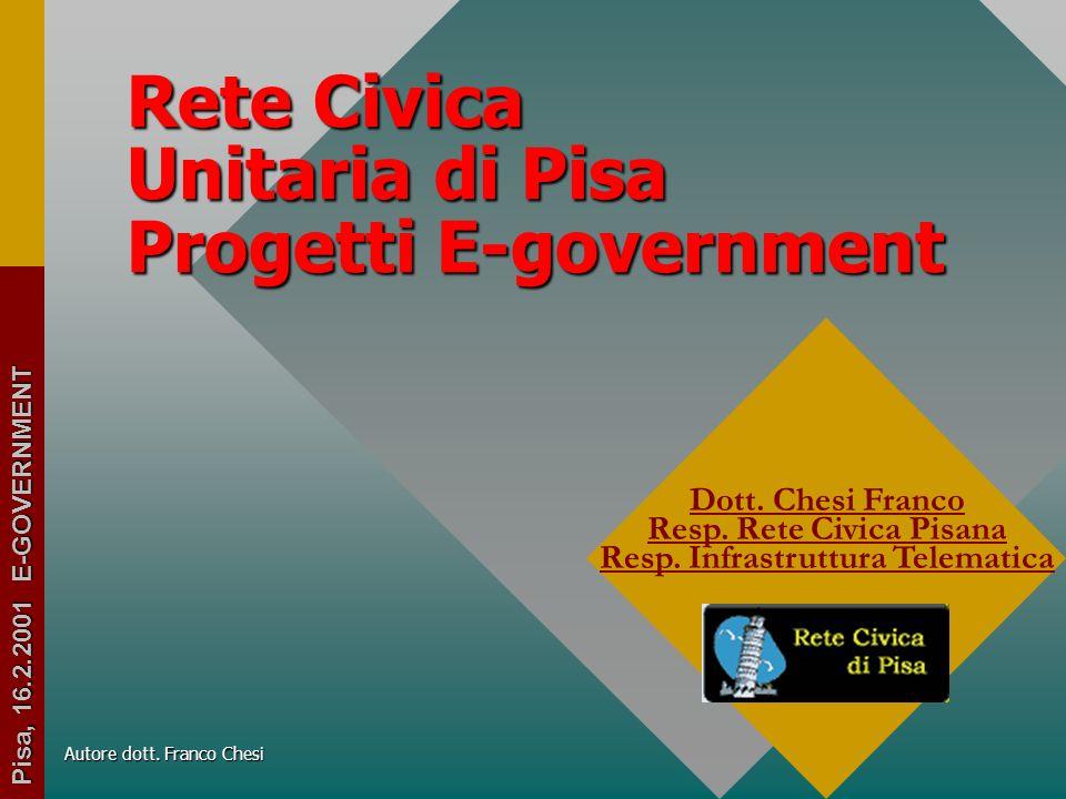 Rete Civica Unitaria di Pisa Progetti E-government Dott.