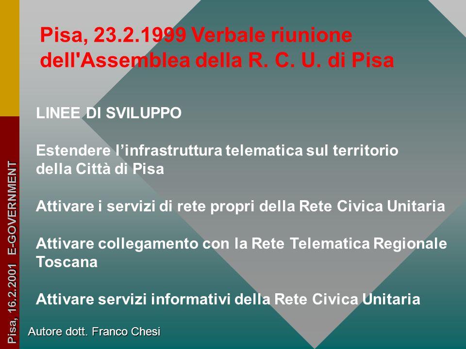 Rete Civica Unitaria di Pisa Progetti E-government Dott. Chesi Franco Resp. Rete Civica Pisana Resp. Infrastruttura Telematica Autore dott. Franco Che
