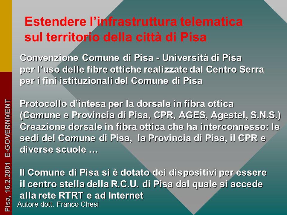 Autore dott. Franco Chesi Pisa, 16.2.2001 E-GOVERNMENT Pisa, 23.2.1999 Verbale riunione dell'Assemblea della R. C. U. di Pisa LINEE DI SVILUPPO Estend