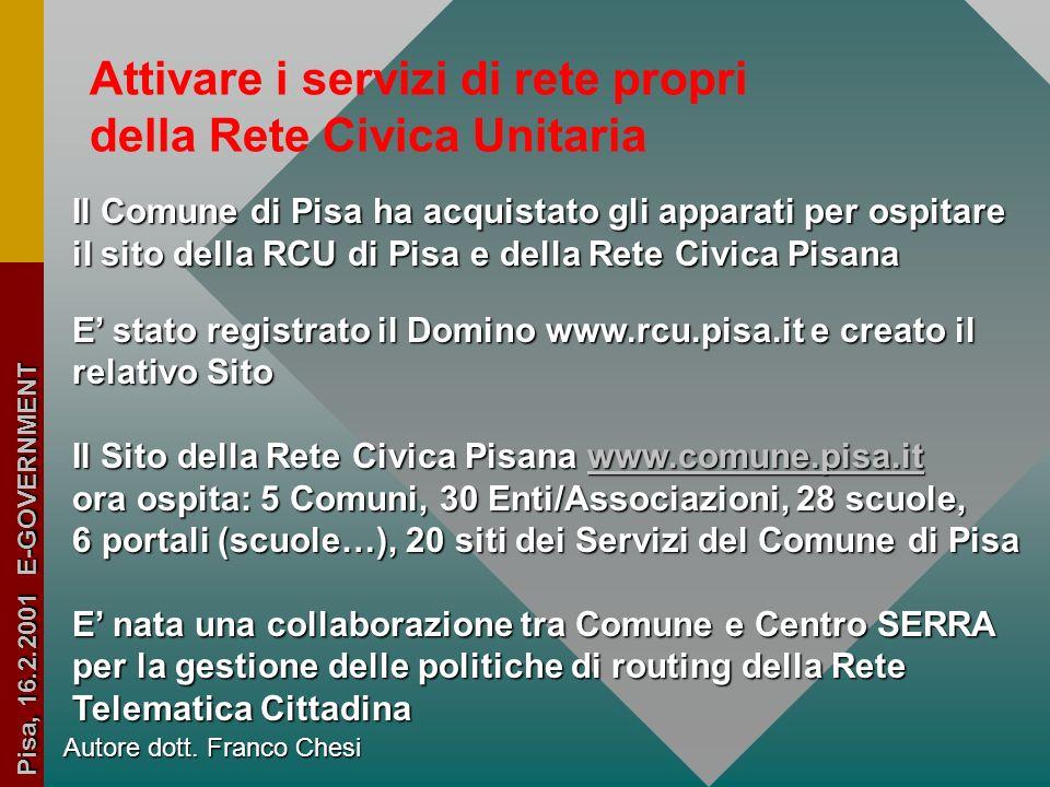 Autore dott. Franco Chesi Pisa, 16.2.2001 E-GOVERNMENT