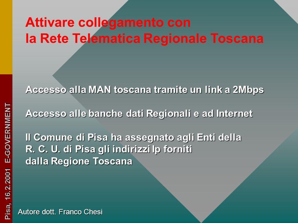 Autore dott. Franco Chesi Pisa, 16.2.2001 E-GOVERNMENT Attivare i servizi di rete propri della Rete Civica Unitaria Il Comune di Pisa ha acquistato gl