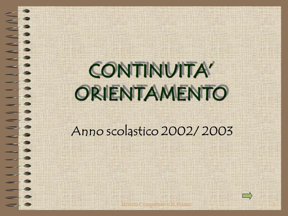 Istituto Comprensivo N.Pisano1 CONTINUITA ORIENTAMENTO Anno scolastico 2002/ 2003