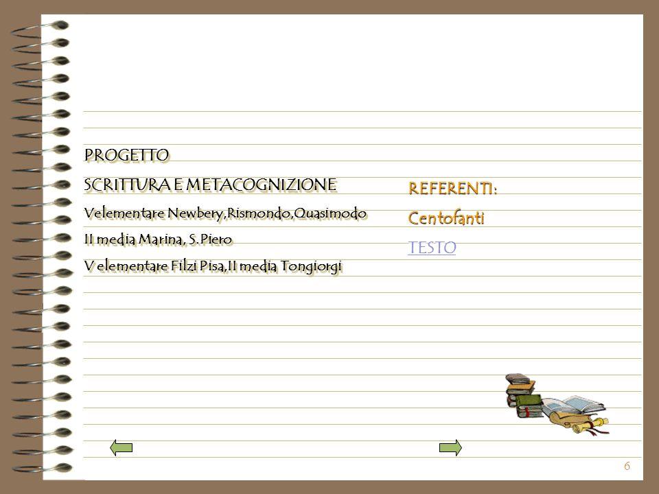 6 PROGETTO SCRITTURA E METACOGNIZIONE Velementare Newbery,Rismondo,Quasimodo II media Marina, S.Piero V elementare Filzi Pisa,II media Tongiorgi PROGETTO SCRITTURA E METACOGNIZIONE Velementare Newbery,Rismondo,Quasimodo II media Marina, S.Piero V elementare Filzi Pisa,II media Tongiorgi REFERENTI:Centofanti TESTO