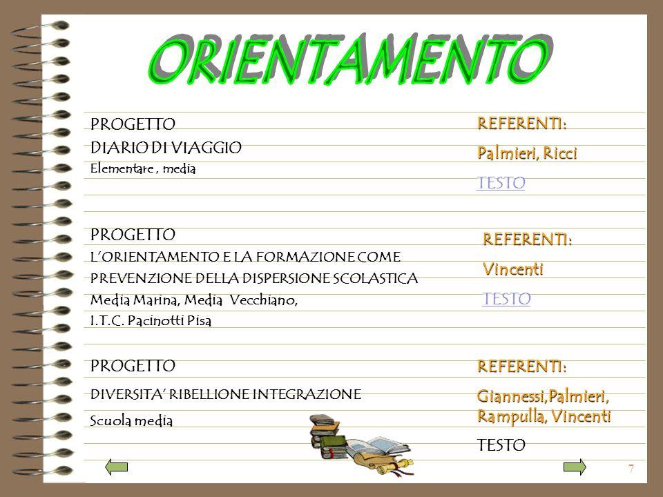7 PROGETTO DIARIO DI VIAGGIO Elementare, media PROGETTO LORIENTAMENTO E LA FORMAZIONE COME PREVENZIONE DELLA DISPERSIONE SCOLASTICA Media Marina, Media Vecchiano, I.T.C.