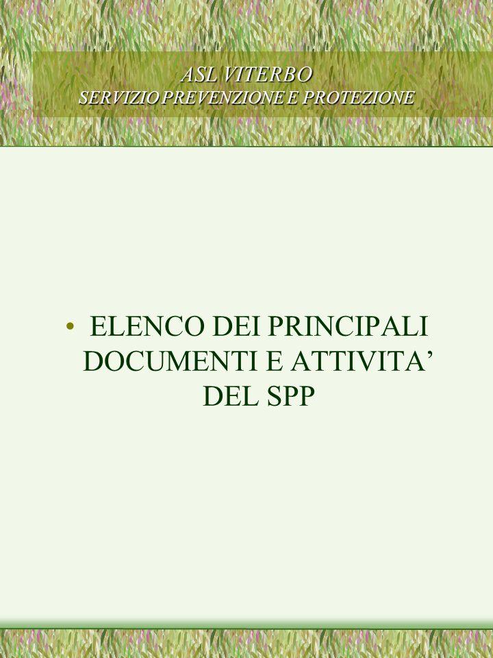 ASL VITERBO SERVIZIO PREVENZIONE E PROTEZIONE ELENCO DEI PRINCIPALI DOCUMENTI E ATTIVITA DEL SPP