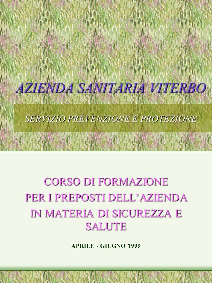 AZIENDA SANITARIA VITERBO SERVIZIO PREVENZIONE E PROTEZIONE CORSO DI FORMAZIONE PER I PREPOSTI DELLAZIENDA IN MATERIA DI SICUREZZA E SALUTE APRILE - GIUGNO 1999