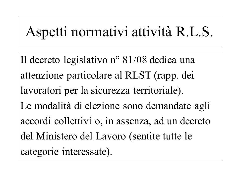 Il decreto legislativo n° 81/08 dedica una attenzione particolare al RLST (rapp. dei lavoratori per la sicurezza territoriale). Le modalità di elezion