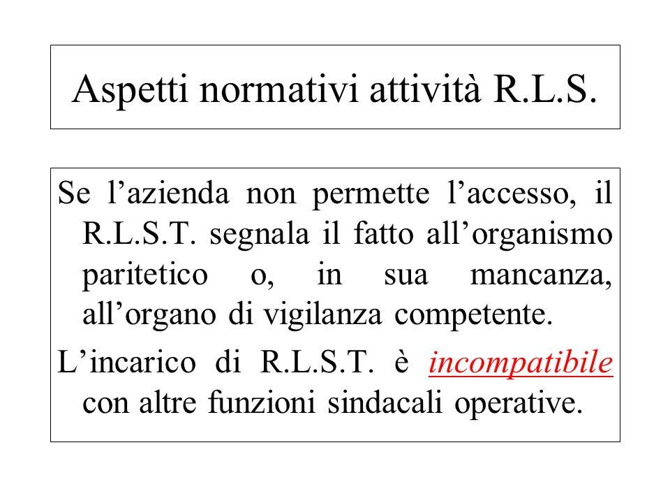 Se lazienda non permette laccesso, il R.L.S.T. segnala il fatto allorganismo paritetico o, in sua mancanza, allorgano di vigilanza competente. Lincari