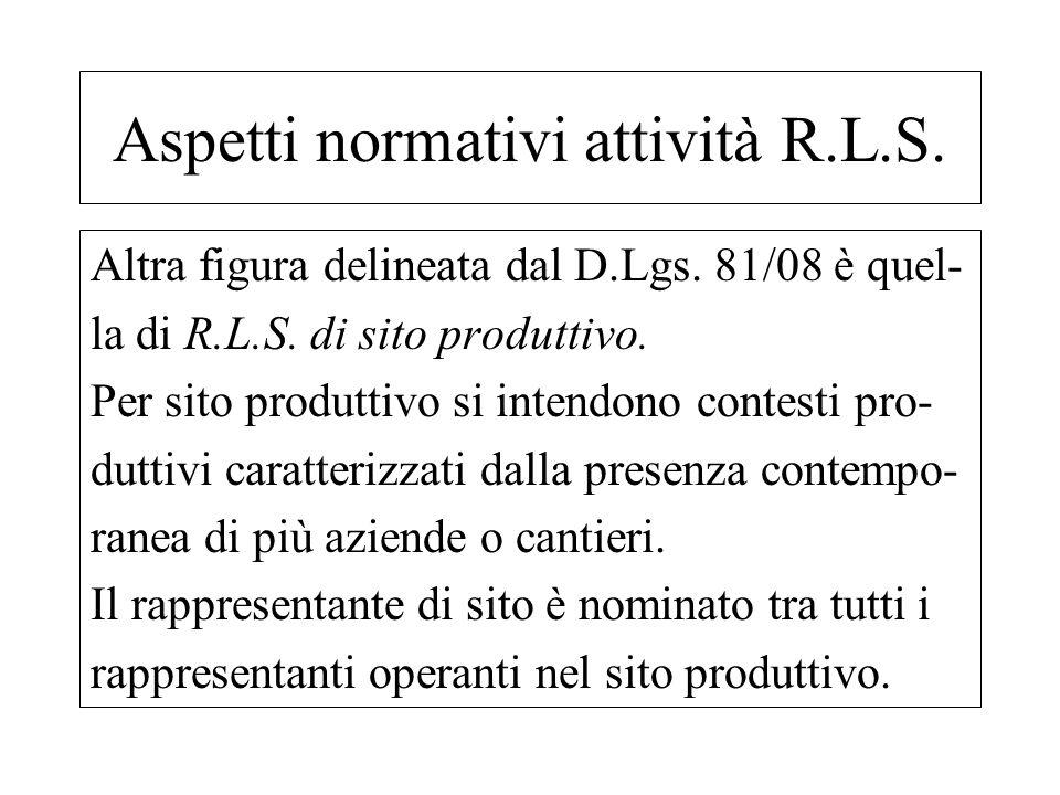 Altra figura delineata dal D.Lgs. 81/08 è quel- la di R.L.S. di sito produttivo. Per sito produttivo si intendono contesti pro- duttivi caratterizzati