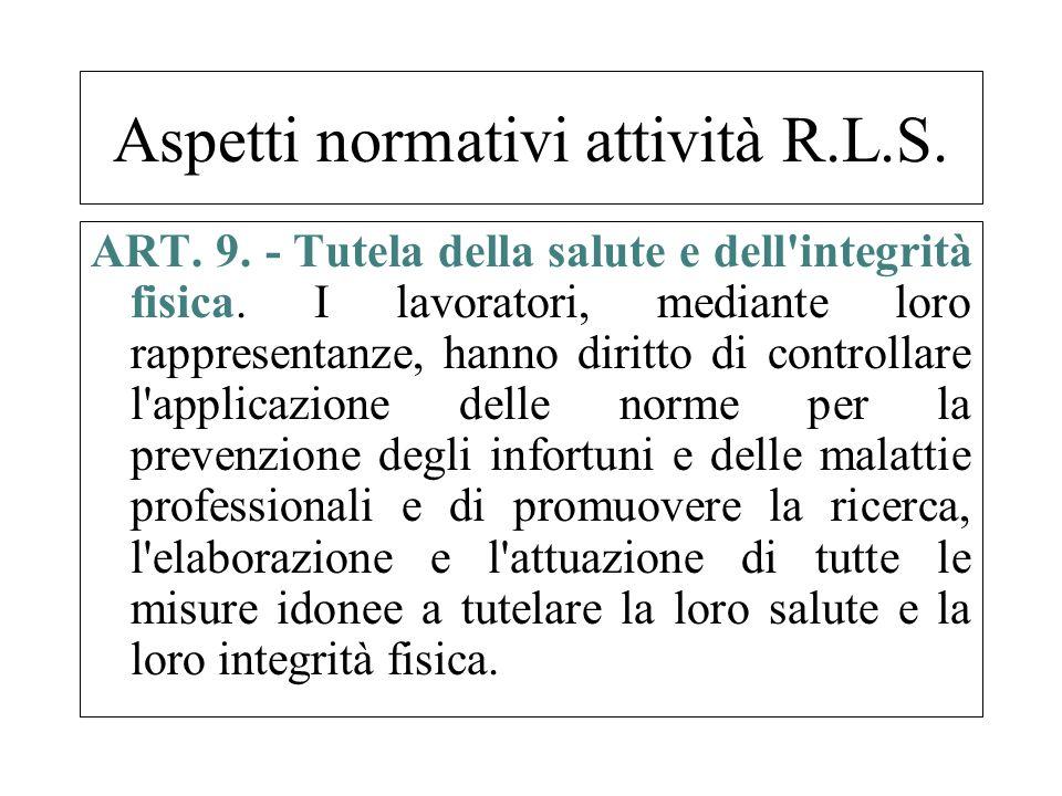 ART. 9. - Tutela della salute e dell'integrità fisica. I lavoratori, mediante loro rappresentanze, hanno diritto di controllare l'applicazione delle n