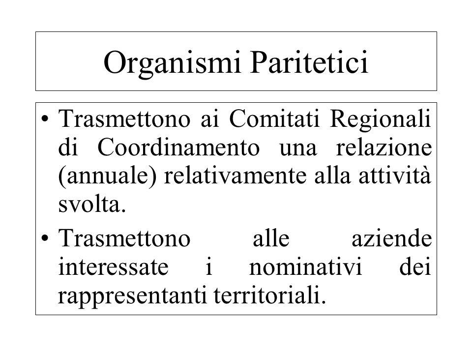 Trasmettono ai Comitati Regionali di Coordinamento una relazione (annuale) relativamente alla attività svolta. Trasmettono alle aziende interessate i