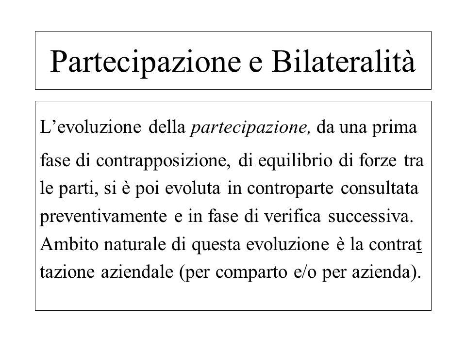 Levoluzione della partecipazione, da una prima fase di contrapposizione, di equilibrio di forze tra le parti, si è poi evoluta in controparte consulta