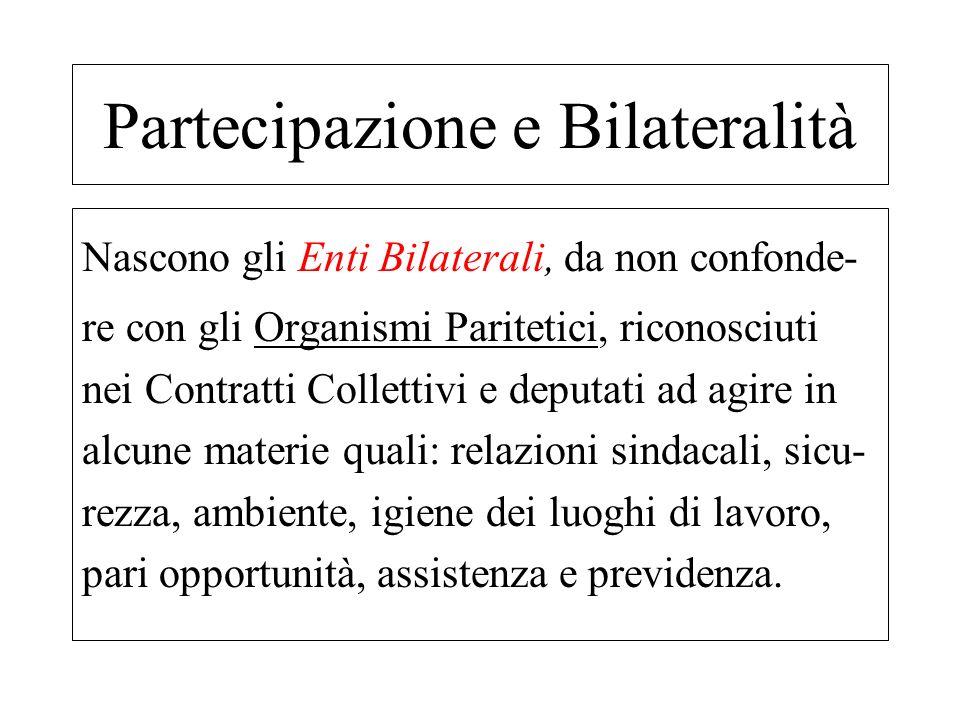 Nascono gli Enti Bilaterali, da non confonde- re con gli Organismi Paritetici, riconosciuti nei Contratti Collettivi e deputati ad agire in alcune mat
