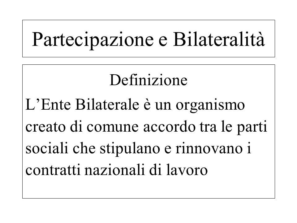 Definizione LEnte Bilaterale è un organismo creato di comune accordo tra le parti sociali che stipulano e rinnovano i contratti nazionali di lavoro Pa