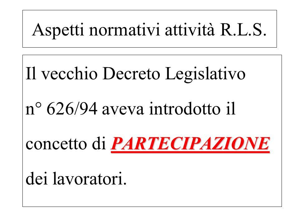 Il vecchio Decreto Legislativo n° 626/94 aveva introdotto il PARTECIPAZIONE concetto di PARTECIPAZIONE dei lavoratori. Aspetti normativi attività R.L.