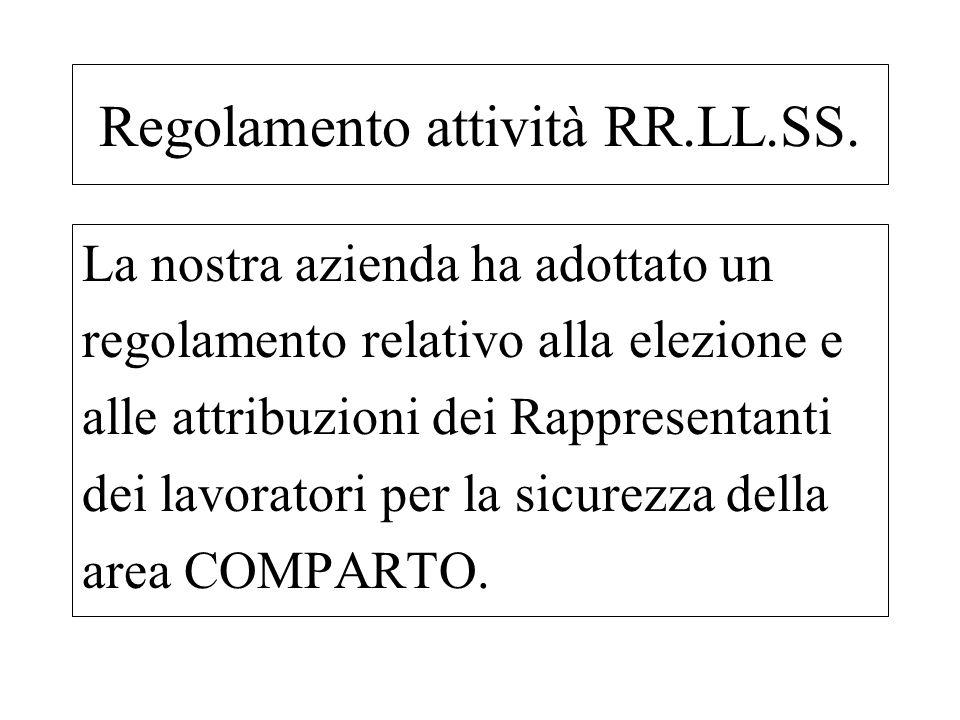 Regolamento attività RR.LL.SS. La nostra azienda ha adottato un regolamento relativo alla elezione e alle attribuzioni dei Rappresentanti dei lavorato