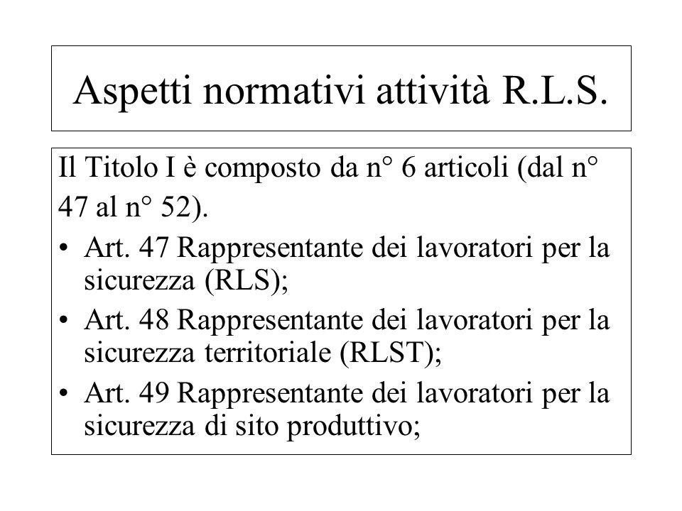Il Titolo I è composto da n° 6 articoli (dal n° 47 al n° 52). Art. 47 Rappresentante dei lavoratori per la sicurezza (RLS); Art. 48 Rappresentante dei