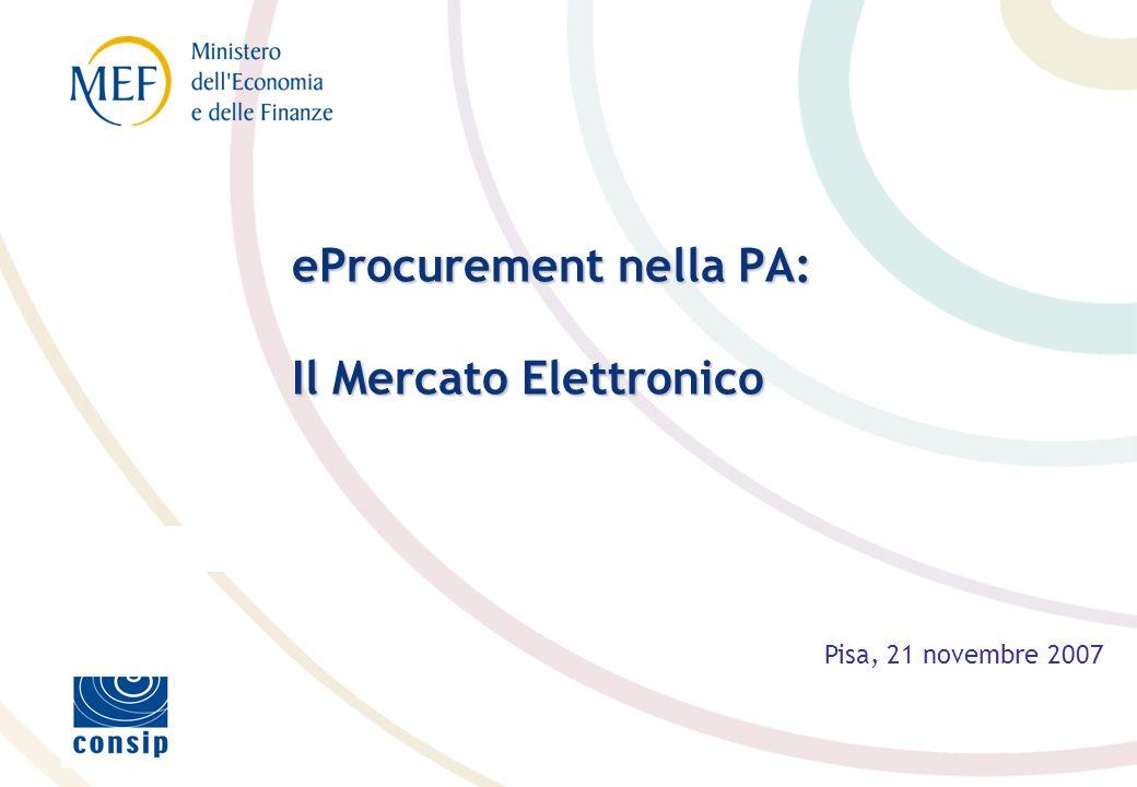 eProcurement nella PA: Il Mercato Elettronico Pisa, 21 novembre 2007