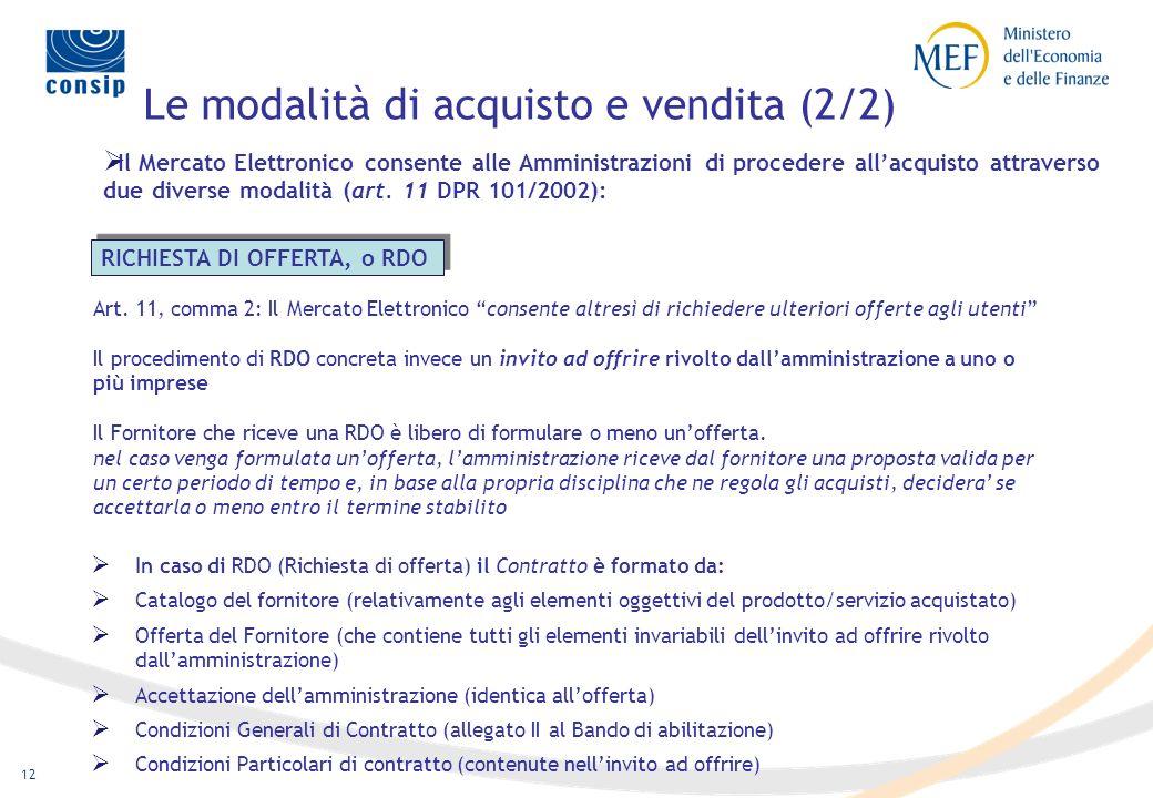 11 Le modalità di acquisto e vendita (1/2) Il Mercato Elettronico consente alle Amministrazioni di procedere all acquisto attraverso due diverse modal