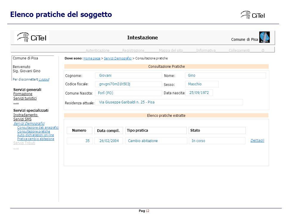 Pag 12 Mappa del sitoInformativaRegistrazioneCollegamenti @ Autenticazione Consultazione Pratiche Elenco pratiche del soggetto Intestazione Comune di Pisa Elenco pratiche estratte Numero Data compil.