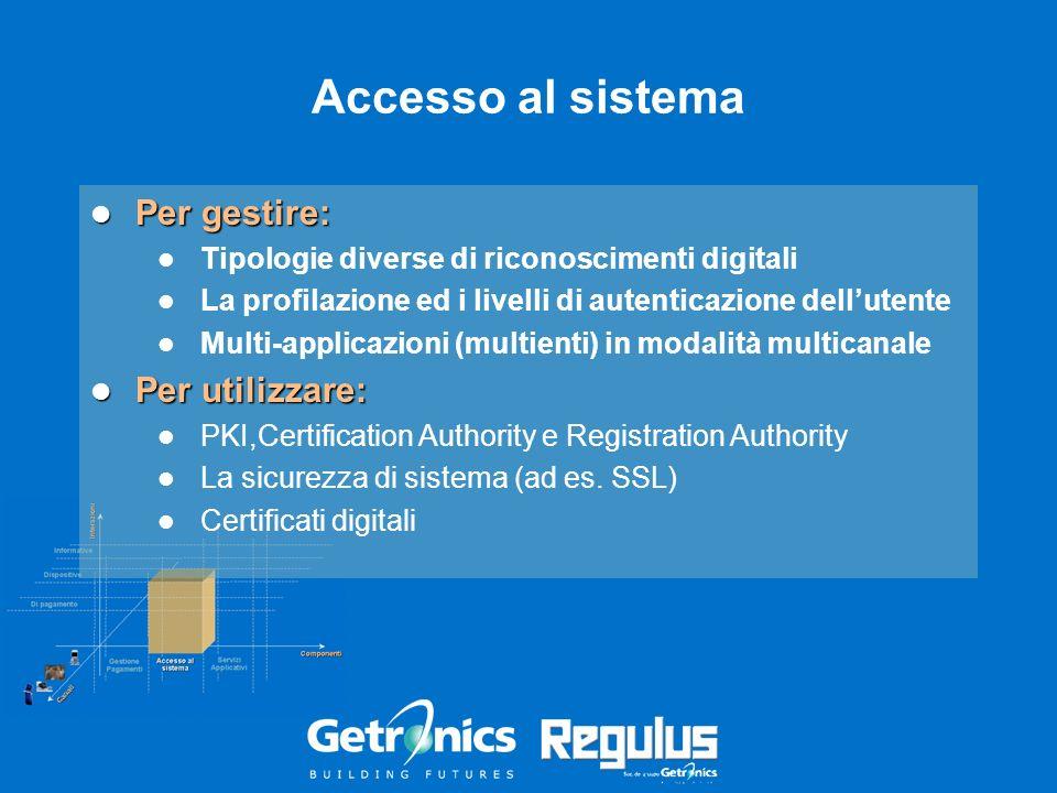 Accesso al sistema Per gestire: Per gestire: Tipologie diverse di riconoscimenti digitali La profilazione ed i livelli di autenticazione dellutente Mu