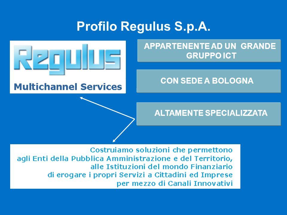 Profilo Regulus S.p.A. APPARTENENTE AD UN GRANDE GRUPPO ICT Nord America 6.400 dipendenti Getronics - Ricavi 2001: 4,1 miliardi Getronics Italia - Ric