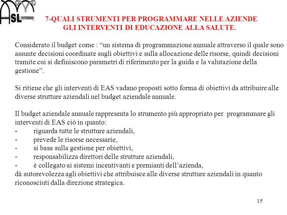 15 7-QUALI STRUMENTI PER PROGRAMMARE NELLE AZIENDE GLI INTERVENTI DI EDUCAZIONE ALLA SALUTE. Considerato il budget come : un sistema di programmazione